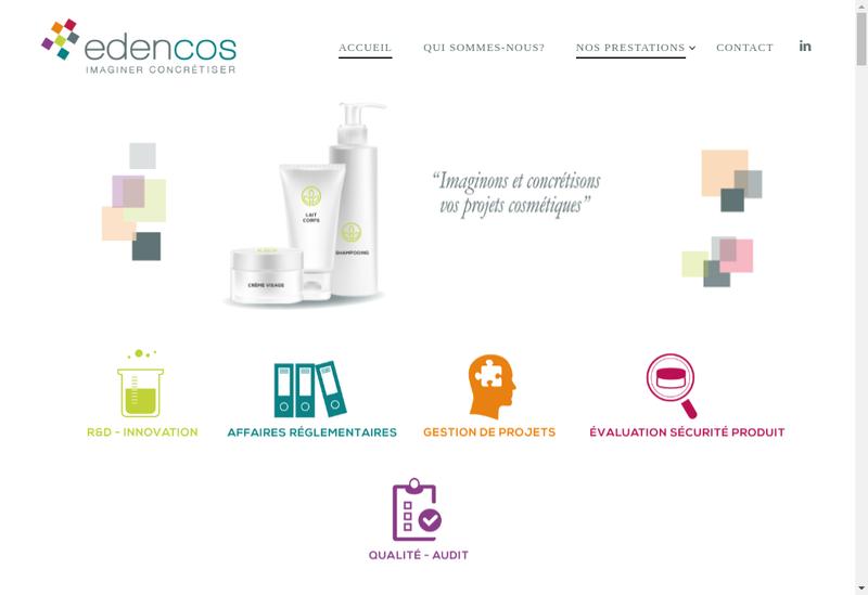 Capture d'écran du site de Edencos Lab