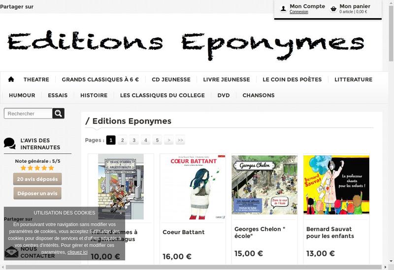 Capture d'écran du site de Editions Eponymes