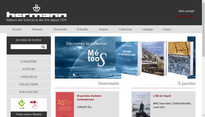 Capture d'écran du site de Librairie Hermann