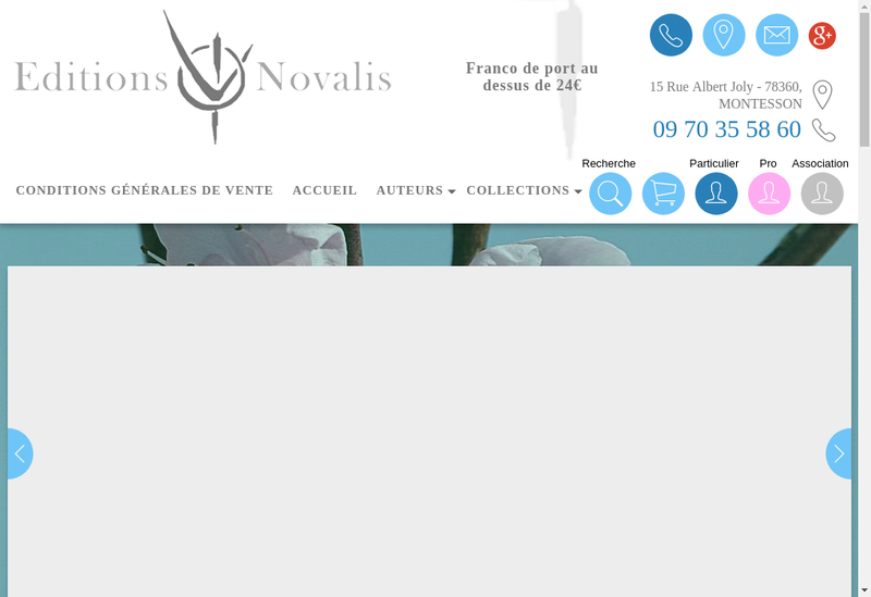 Capture d'écran du site de Editions Novalis
