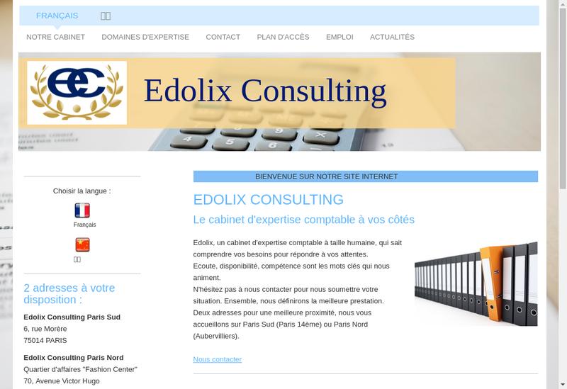 Capture d'écran du site de Edolix Consulting