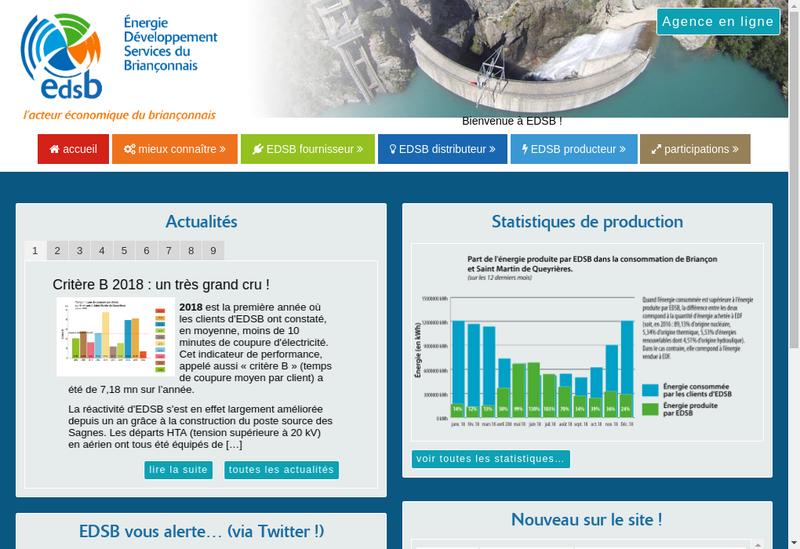 Capture d'écran du site de Regie Electrique du Brianconnais
