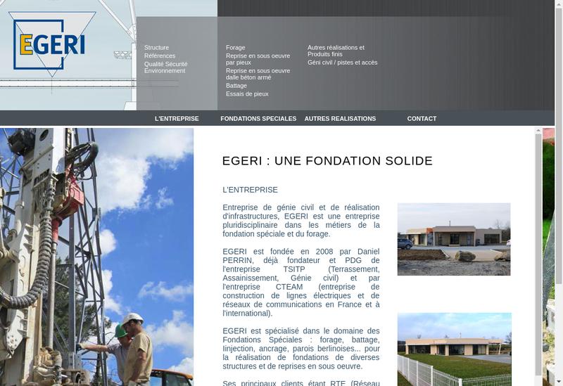 Capture d'écran du site de Egeri