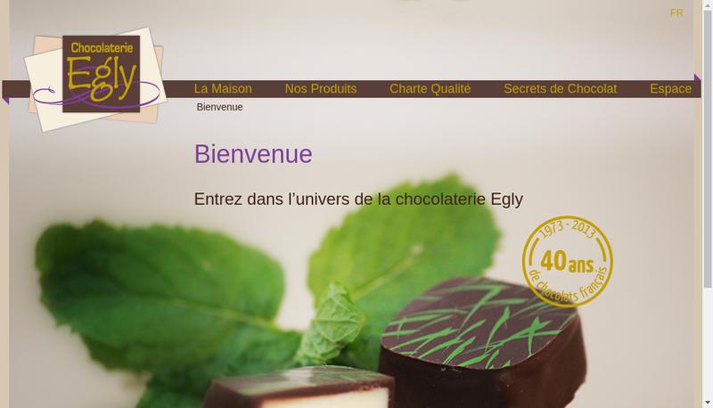 Capture d'écran du site de Chocolaterie Egly