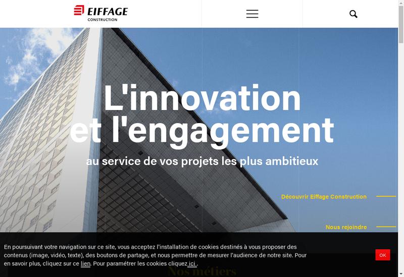 Capture d'écran du site de Eiffage Construction Nord Pas Calais