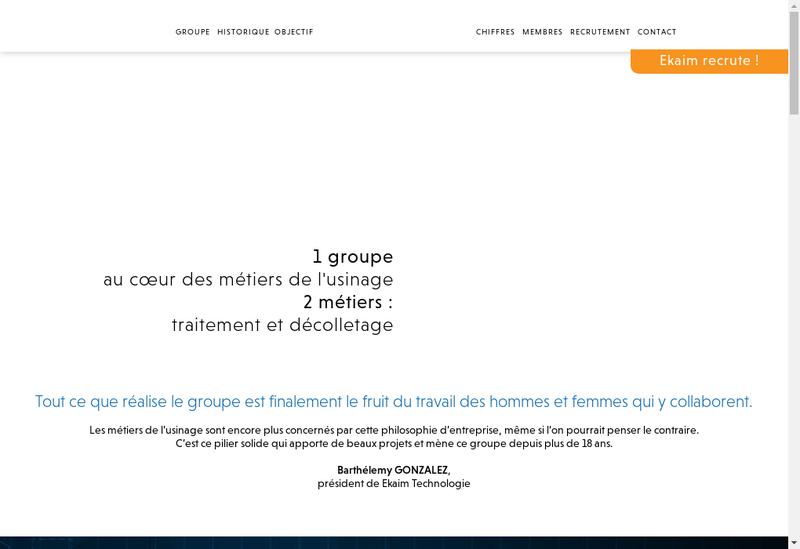 Capture d'écran du site de Ekaim Technologie