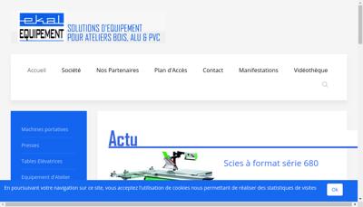 Capture d'écran du site de Ekal Equipement