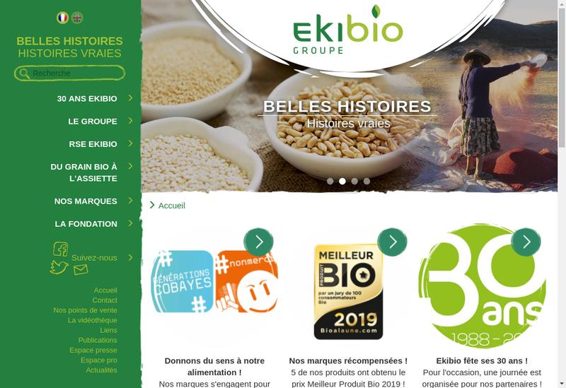 Capture d'écran du site de Ekibio Holding
