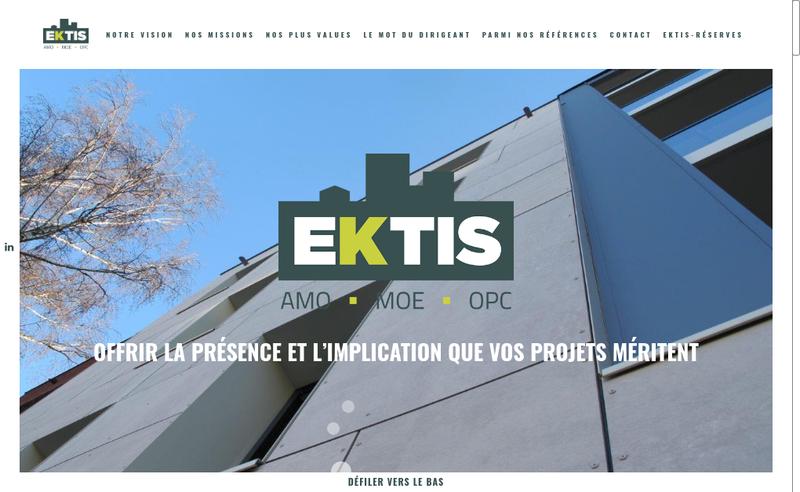 Capture d'écran du site de Ektis