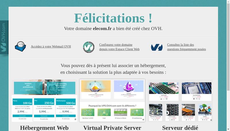 Capture d'écran du site de Elecom