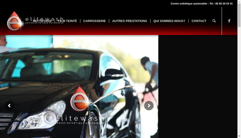 Capture d'écran du site de Elite Wash