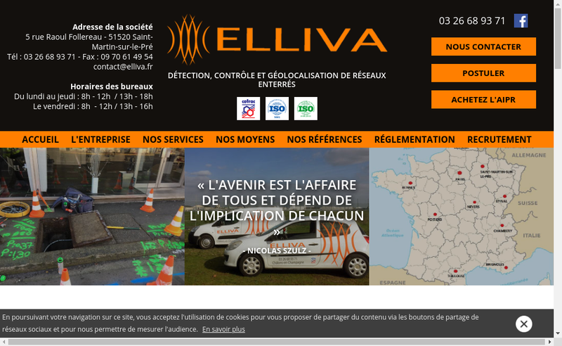 Capture d'écran du site de Elliva