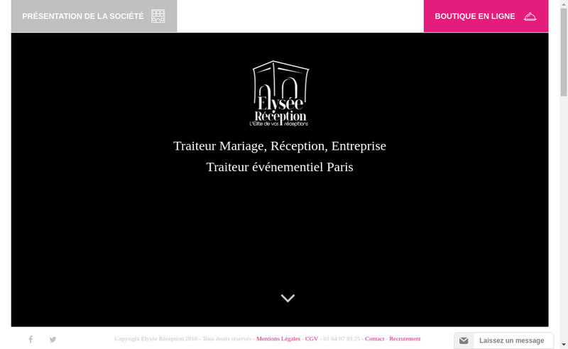 Capture d'écran du site de Elysee Reception