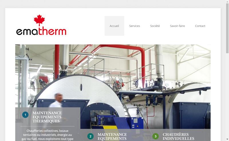 Capture d'écran du site de Ematherm