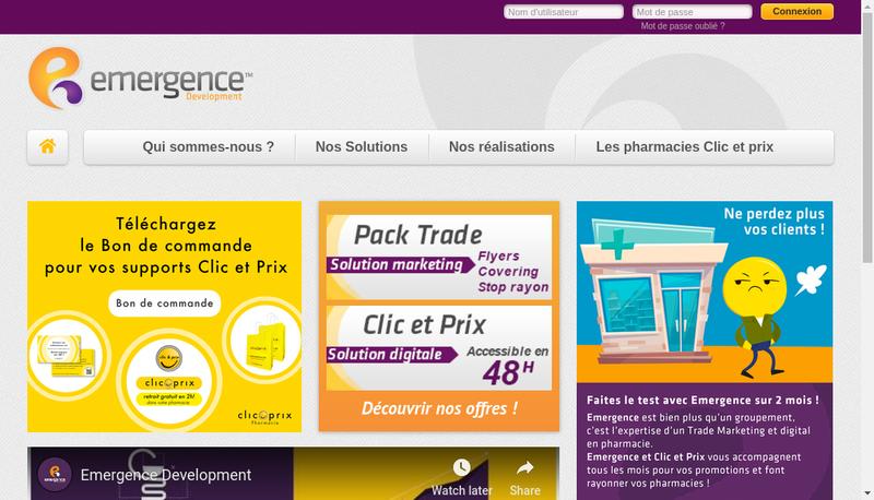 Capture d'écran du site de Emergence Development