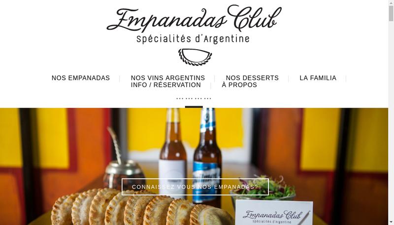 Capture d'écran du site de Empanadas Club