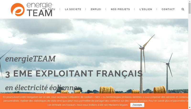 Capture d'écran du site de Energieteam Sarl