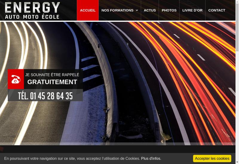 Capture d'écran du site de Energy Auto Ecole
