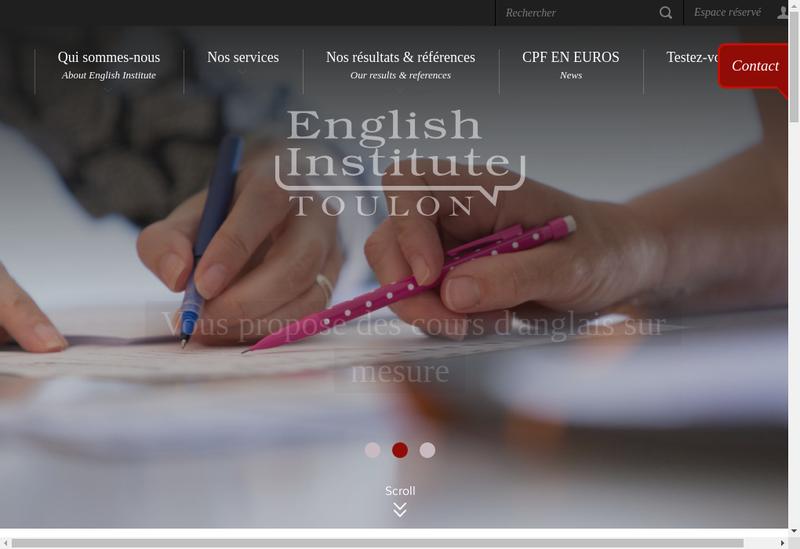 Capture d'écran du site de English Institute