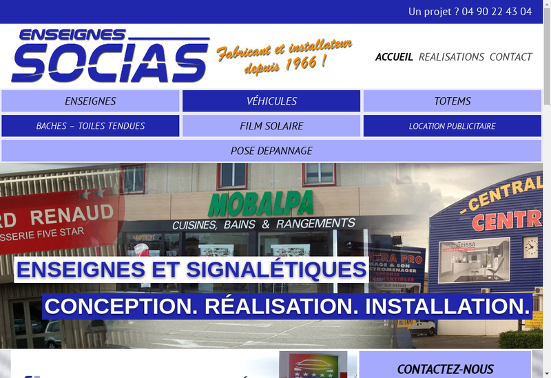 Capture d'écran du site de Enseignes Socias