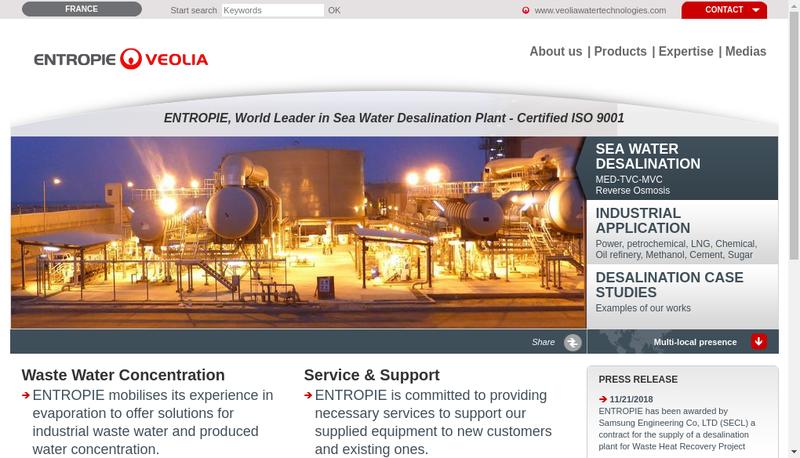 Capture d'écran du site de Entropie