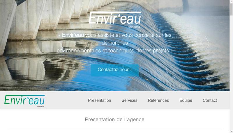Capture d'écran du site de Envir'Eau Conseils