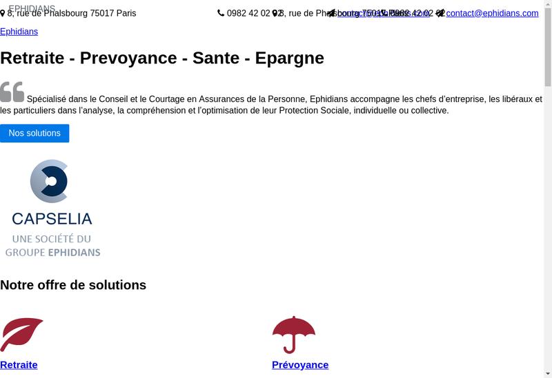 Capture d'écran du site de Ephidians
