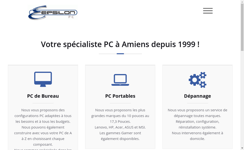 Capture d'écran du site de Epsilon Pc