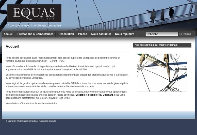 Capture d'écran du site de Equas Conseil