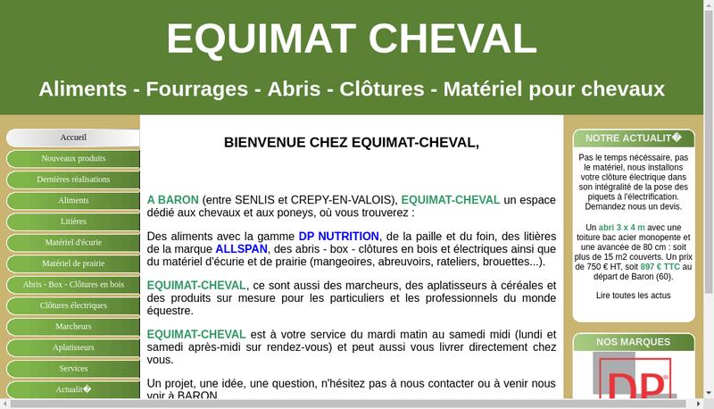 Capture d'écran du site de Equimat