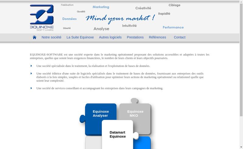 Capture d'écran du site de Equinoxe Software