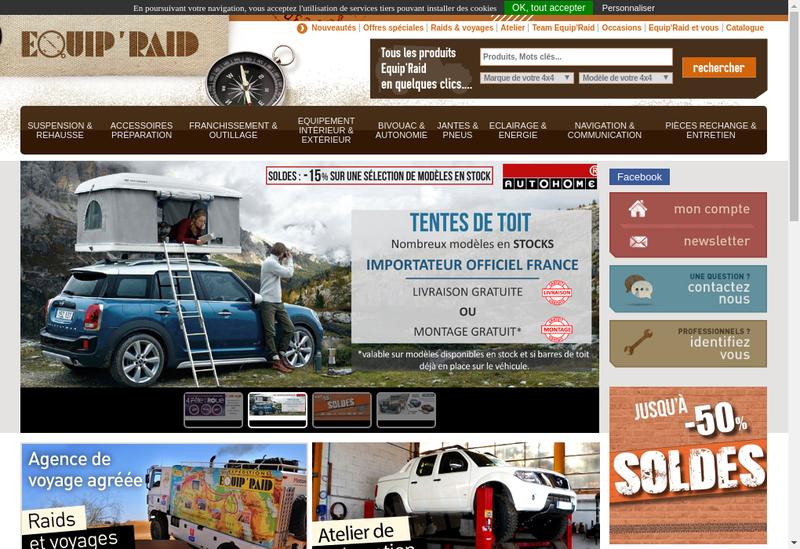 Capture d'écran du site de Equip Raid