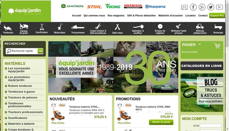 Capture d'écran du site de Equip Jardin Poitiers