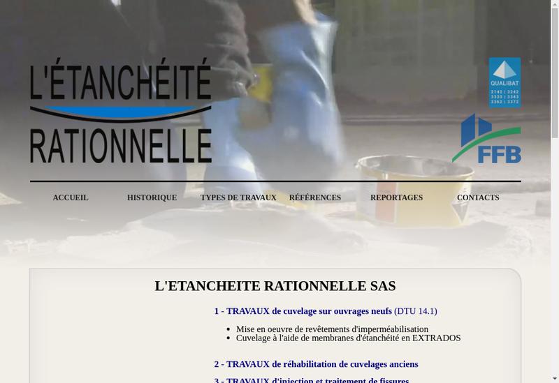 Capture d'écran du site de L'Etancheite Rationnelle
