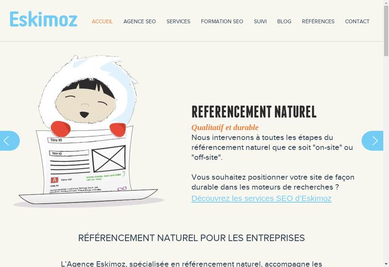 Capture d'écran du site de Eskimoz