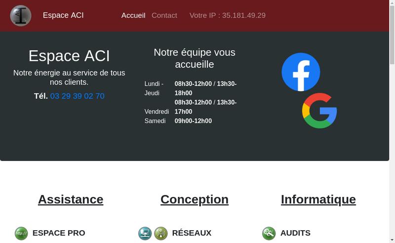 Capture d'écran du site de Espace Aci