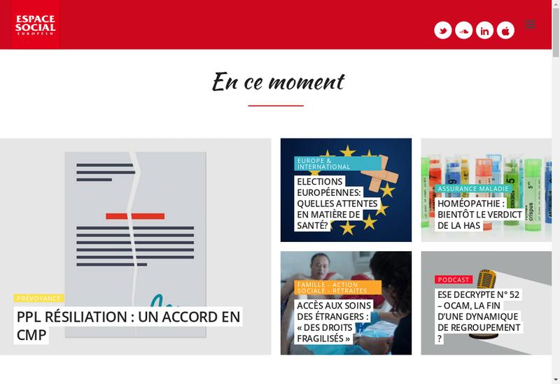 Capture d'écran du site de Espace Social Europeen
