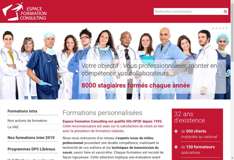 Capture d'écran du site de Espace Formation Consulting