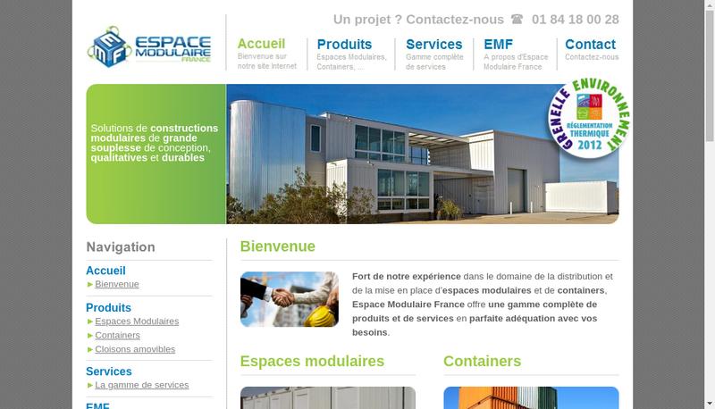 Capture d'écran du site de Espace Modulaire France