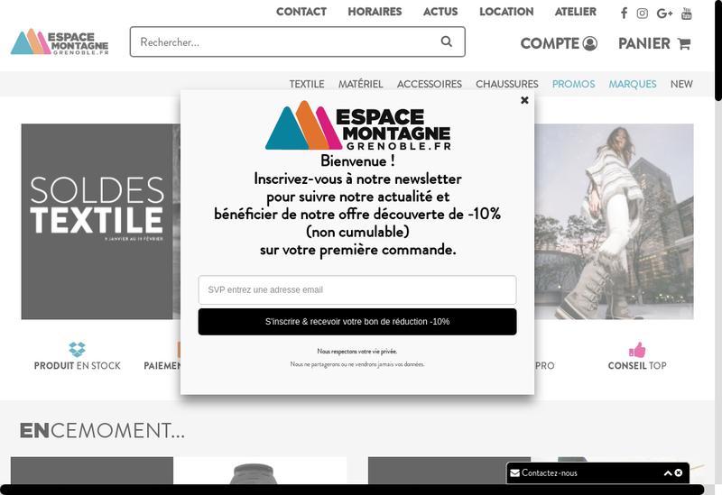 Capture d'écran du site de Espace Montagne