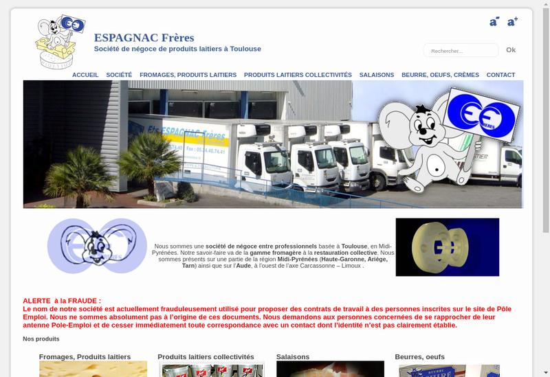 Capture d'écran du site de Espagnac Freres