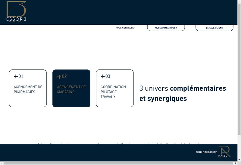 Capture d'écran du site de Comephar Essor 3