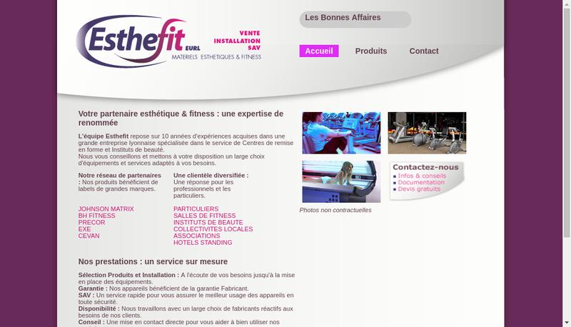 Capture d'écran du site de Esthefit
