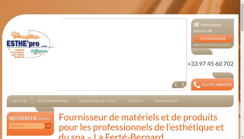 Capture d'écran du site de Esthe Pro Diffusion