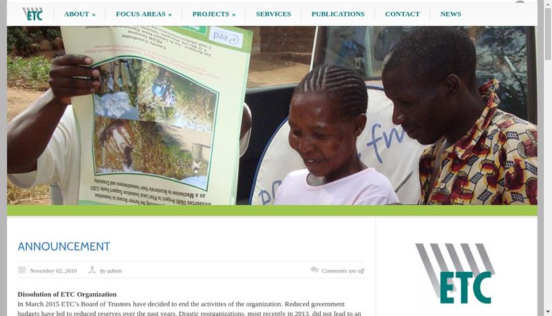 Capture d'écran du site de Etc Internationale