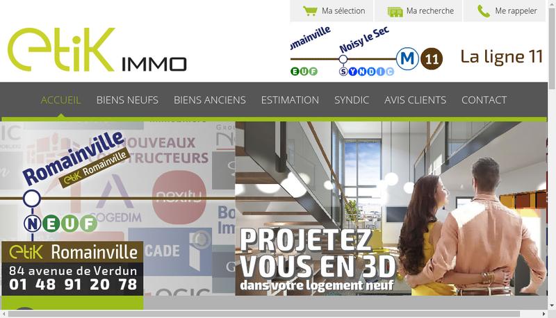 Capture d'écran du site de Etik Immo