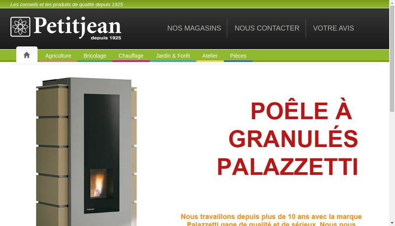 Capture d'écran du site de Etablissements Petitjean SAS
