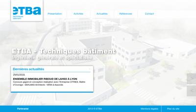 Capture d'écran du site de ETBA