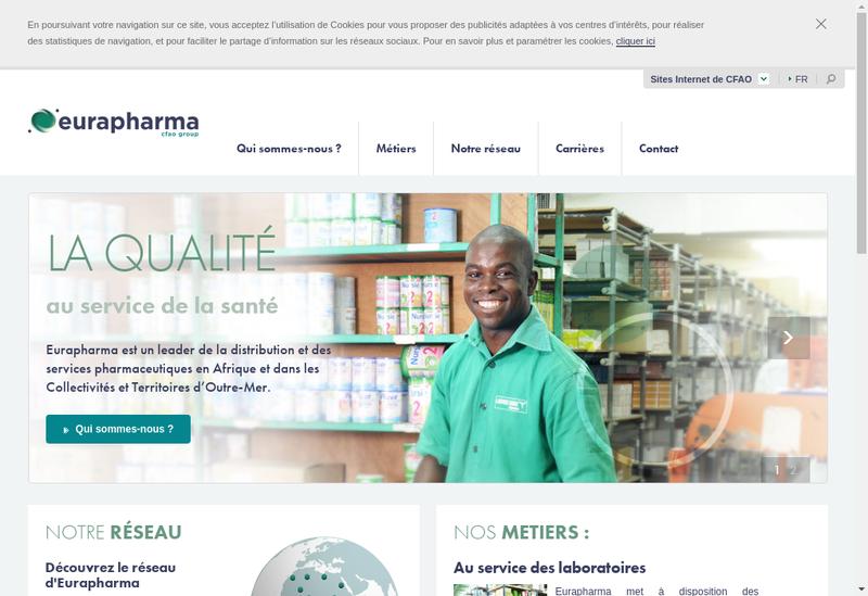Capture d'écran du site de Continental Pharmaceutique