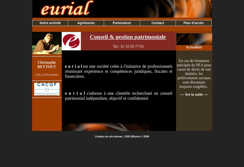 Capture d'écran du site de Eurial